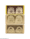 Political:3D & Other Display (pre-1896), Three Early Abraham Lincoln Stereoview Cards One of Lincoln alone, one with Washington, and one with Garfield. The single-...