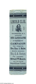 "Political:Ribbons & Badges, Unusual Local Candidate Ribbon with Lincoln Association This 2"" x 7"" powder blue satin ribbon was issued by the ""Lincoln Clu..."
