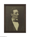 "Photography:Studio Portraits, Abraham Lincoln Rare ""Beardless"" Framed Portrait Circa 1900 Here is an enlarged photograph from an original negative made by..."