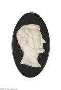 Political:3D & Other Display (pre-1896), Porcelain Abraham Lincoln Hanging Wall Plaque Circa 1865 or later,impressive original Abraham Lincoln hanging wall plaque....