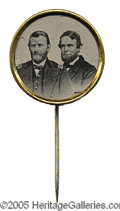 Political:Ferrotypes / Photo Badges (pre-1896), LUSTROUS Grant and Colfax 1868 Jugate Ferrotype Stickpin Sullivan-DeWitt USG 1868-97, 17 mm. This jugate is a beauty with b...