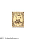 Political:Tokens & Medals, Ulysses S. Grant Cardboard Photo in Frame An elegant, gem-sized, brass-matted cardboard portrait, 25 mm tall, presenting the...