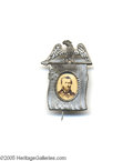 Political:Ferrotypes / Photo Badges (pre-1896), Ulysses S. Grant Photo in Flag Frame Pin One of the brightest,cleanest examples of Sullivan 1868-53 we have ever encountere...