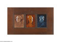 Political:3D & Other Display (pre-1896), 1885-dated Ceramic Tiles of George Washington, Abraham Lincoln, andUlysses S. Grant by the J. G. and J. F. Low Art Tile Works...