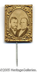 Political:Ferrotypes / Photo Badges (pre-1896), Tough 1872 Grant - Wilson Jugate Pin 1872 Ulysses S. Grant jugateswith Henry Wilson are many times rarer than those of 1868...