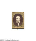 Political:Ferrotypes / Photo Badges (pre-1896), Pristine 1876 Rutherford B. Hayes Pin Very attractive unlistedvariety with distinctive deep sepia background. Original met...