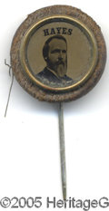 "Political:Ferrotypes / Photo Badges (pre-1896), Bold Rutherford Hayes Ferrotype Stickpin This 16 mm stickpincontains a bold ferrotype portrait of ""Hayes"" within a plain, r..."
