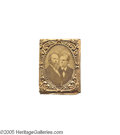 """Political:Ferrotypes / Photo Badges (pre-1896), 1876 Rutherford B. Hayes and William A. Wheeler Jugate BadgeCardboard photo in original brass """"gem"""" frame, with original ti..."""