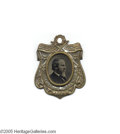 "Political:Ferrotypes / Photo Badges (pre-1896), Choice 1876-dated Rutherford B. Hayes Ferrotype Set into fancysilvered brass-shell frame, reading, ""Centennial President 18..."