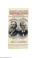 """Political:Ribbons & Badges, Handsome Hayes and Wheeler Jugate Woven Ribbon 2"""" x 4 1/4"""" woven silk ribbon depicting the """"Republican Candidates,"""" Rutherf..."""