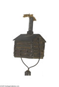 Political:3D & Other Display (pre-1896), Fabulous 1888 Benjamin Harrison Log Cabin Torch Elaborately detailed fully three-dimensional tin log cabin serves as the ke...