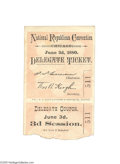 "Political:Small Paper (pre-1896), 1880 Republican National Convention Ticket ""Delegate Ticket"" to the""National Republican Convention"" held in Chicago on June..."