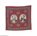 Political:Textile Display (pre-1896), 1880 Hancock and English Jugate Campaign Bandana Rarely found insuch choice condition, here is great textile campaign piece...