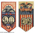 Political:Ribbons & Badges, Pair of Hancock English and Garfield Arthur Jugate Ribbons This is a matching pair of glazed cotton jugate ribbons for the t...