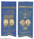 Political:Ribbons & Badges, Beautiful Matched Pair of 1884 Grover Cleveland/Thomas Hendricks and James Blaine/John Logan Jugate Ribbons Applied paper p...