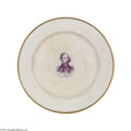 Political:3D & Other Display (pre-1896), Rare China Dinner Plate Picturing 1880 Prohibition Party Presidential Candidate Neal Dow From a huge service custom-made for...