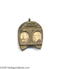 Political:Ferrotypes / Photo Badges (pre-1896), Grover Cleveland and Thomas Hendricks Horseshoe Photo Badge One of the classic cardboard and brass frame designs of the latt...