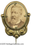 Political:Ferrotypes / Photo Badges (pre-1896), Exceptional Large 1884 James Blaine Photo Pin Cardboard photo inornamental brass shell frame with original pin. Choice con...