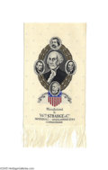 Political:Ribbons & Badges, Beautiful 1884 Woven James G. Blaine and John A. Logan Jugate Ribbon Also features George Washington and revered assassinat...