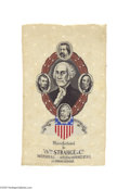 Political:Ribbons & Badges, Attractive Woven 1884 James Blaine and John Logan Ribbon A great wide, colorful design which also features Republican Marty...