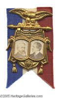 Political:Ferrotypes / Photo Badges (pre-1896), Absolutely Pristine 1888 Benjamin Harrison - Levi Morton Jugate PinCondition on this item is simply beyond belief: Not onl...