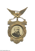 Political:Ferrotypes / Photo Badges (pre-1896), Impressive Benjamin Harrison Glass Portrait Badge This is one of the showiest and most ornate campaign badges for Benjamin H...