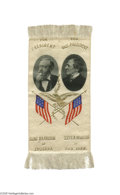 """Political:Ribbons & Badges, Choice and Colorful 1888 Benjamin Harrison and Levi Morton Jugate Ribbon Crisp and """"minty"""" example of this lovely jugate wi..."""