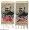 Political:Ribbons & Badges, Matched Pair of Benjamin Harrison Campaign and Inaugural Ribbons This is a pair of woven ribbons, likely manufactured in Pat...