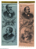 Political:Ribbons & Badges, Superb and Very Choice Matched Pair of 1888 Jugate Ribbons Democrats Grover Cleveland and Allen Thurman, and Republicans Be...