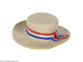 Political:3D & Other Display (pre-1896), Circa 1888 Benjamin Harrison Miniature Felt Campaign Hat This clever novelty is a miniature white felt hat with red, white a...