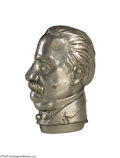 Political:Miscellaneous Political, Popular Grover Cleveland Match Safe These hollow brass portraititems were manufactured for several politicians of that era....
