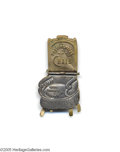 """Political:Small Miscellaneous (pre-1896), 1888 Grover Cleveland Mechanical Chair Pin Back and seat read, """"The Presidential Chair...Who Shall Occupy It ?"""" Seat flips ..."""