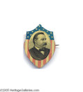 Political:Ferrotypes / Photo Badges (pre-1896), Grover Cleveland Shield Shaped Tin Pin Quite a lovely, colorfulitem: a lithographed tin shell with bright red and blue. Or...