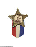 """Political:Ferrotypes / Photo Badges (pre-1896), Grover Cleveland Star Badge A simple, elegant, """"very 19th century""""political item, a 3/4"""" in diameter cardboard photograph s..."""
