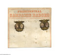 Political:Ferrotypes / Photo Badges (pre-1896), Rare Store Display Card with Two 1892 Grover Cleveland - AdlaiStevenson Jugate Pins Interestingly, each has a different Cle...