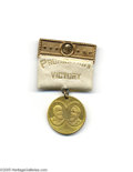 Political:Ribbons & Badges, Pristine 1888 Clinton Fiske and John Brooks Prohibition Badge The jugate token itself is scarce, but relatively obtainable....