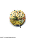 """Political:Pinback Buttons (1896-present), Classic McKinley and Roosevelt Commerce and Industries Button This classic 1 1/4"""" celluloid jugate shows William McKinley an..."""