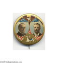 "Political:Pinback Buttons (1896-present), Spectacular Large 1 3/4"" Multicolor Jugate for McKinley andRoosevelt Considered one of the most beautiful of all jugate but..."