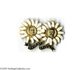"""Political:Pinback Buttons (1896-present), Classic 1900 McKinley Roosevelt """"Pair of Daisies"""" Jugate Brooch This rare brass shell pin, with black and white painted deco..."""