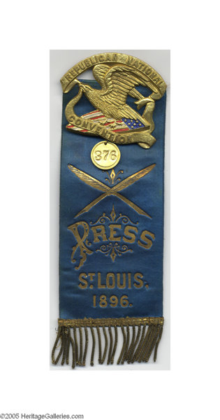 1896 Republican National Convention Press Badge/Ribbon What