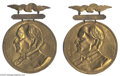 "Political:Ferrotypes / Photo Badges (pre-1896), A Pair of Dramatic, Huge, 1896 William McKinley Campaign Badges At5"" x 6.5"", these brass-shell wearing badges must have mad..."