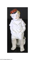 "Political:3D & Other Display (pre-1896), Fabulous 1890s Humorous Political Figurine China figure, 4.5"", of a young boy wearing an unmarked political parade cap of t..."