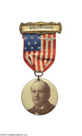 """Political:Ribbons & Badges, """"Commercial Travelers Anti-Trust League"""" William Jennings Bryan Badge This colorful 1906 badge from a New York reception wa..."""