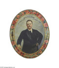 Political:3D & Other Display (1896-present), Superb Large Theodore Roosevelt Litho Tin Serving Tray With Rough Rider Border One of the cleanest examples we have encounte...