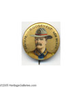 """Political:Pinback Buttons (1896-present), Most Unusual Teddy Roosevelt Item From New Mexico New Mexico was still a territory when this colorful 1 1/4"""" beauty was issu..."""