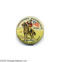 """Political:Pinback Buttons (1896-present), Multicolor 1 1/4"""" 1904 Teddy Roosevelt Button, with TR in Full Rough Rider Uniform This great design is absolutely one of th..."""