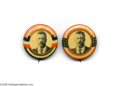 """Political:Pinback Buttons (1896-present), Fantastic Pair of Possibly Unique 1 1/4"""" Teddy Roosevelt Pins Although some may disagree, we felt these two Baltimore Badge..."""
