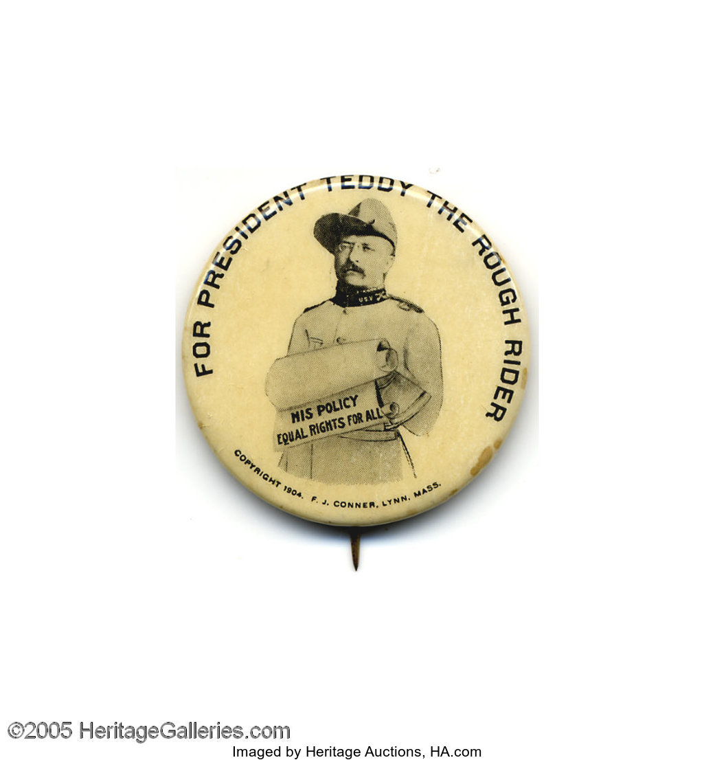 """TEDDY ROOSEVELT For President 2 1//8/"""" political campaign button Pin"""