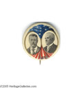 """Political:Pinback Buttons (1896-present), Most Unusual 1 1/4"""" 1904 Teddy Roosevelt """"Coat-tail"""" Jugate This is the actual plate example from the original 1896-1972 Hak..."""