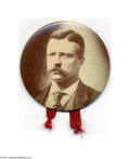 """Political:Pinback Buttons (1896-present), Large 3 1/2"""" Teddy Roosevelt Celluloid Button This tinted sepia beauty is in great shape, and it is hard to find these larg..."""